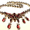 Victorian inspired Ruby Rhinestone Cabochons festoon necklace