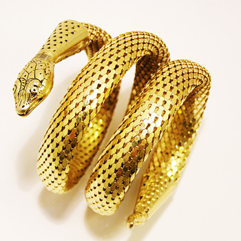 Vintage Whiting &amp; Davis Triple Coil Snake Bracelet - Costume Jewelry