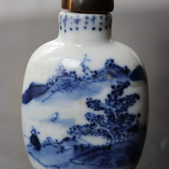 Dark Blue Man fishing Snuff Bottle