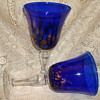 "CYRSTAL COBALT GOBLETS WITH ""GOLD DUST GLITTER"" DOTS"
