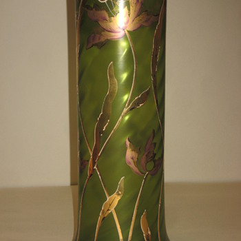Green and Gold Vase - Art Glass