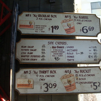 Old Kentucky Fried Chicken menu boards from the 60's?