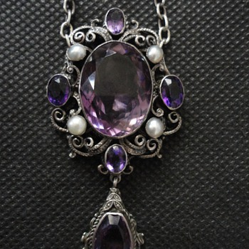 Austro-Hungarian silver amethyst and pearl necklace c. 1860 - Fine Jewelry