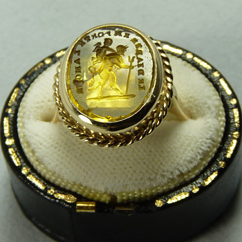 "A Georgian Tassie Seal ""To Hell With Love"", set in a later Victorian Gold Ring - Fine Jewelry"