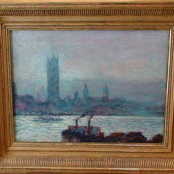 Impressionist Painting Unsigned River Thames UK - Visual Art