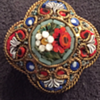 Clover shaped micro mosaic brooch pin early 1900s
