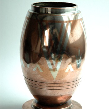 french art deco dinanderie vase by LUC LANEL for christofle