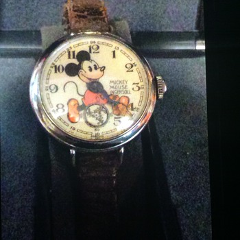 "1934 English ""bearded"" Mickey Mouse wristwatch with original band"