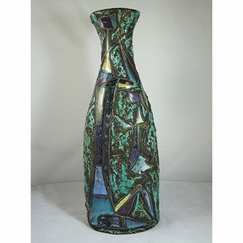 "Marcello Fantoni - 1950's Italian Cubist ""Cat Woman & Daughter"" Lava Glaze Vase"