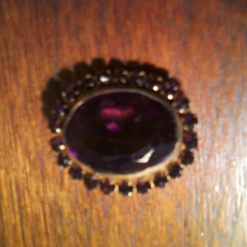 Purple Glass Pin - Costume Jewelry