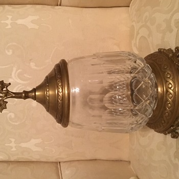 Glass Decanter on Brass Pedestal with Lid