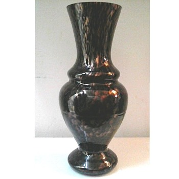 "Unusual Shape Black Amethyst Glass Vase with Copper Aventurine Dust /V. Nason & Co.""Avventurina"" Line/Italy /Circa 1950's  - Art Glass"