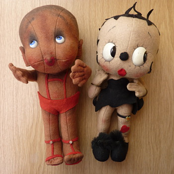 VINTAGE CLOTH BETTY BOOP DOLL & FRIEND 1930's - Dolls