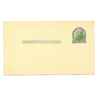 blank postcard with a one cent Jefferson stamped on it.