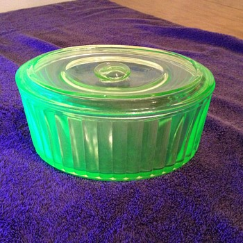 Green Depression Glass Oval Refrigerator Container - Glassware
