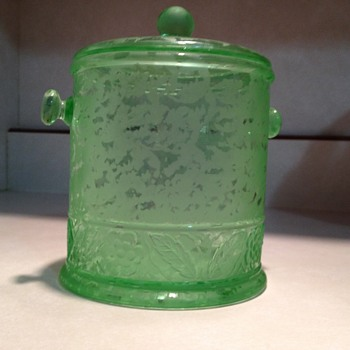 Fenton Ming Macaroon Jar in Green 1930's - Glassware