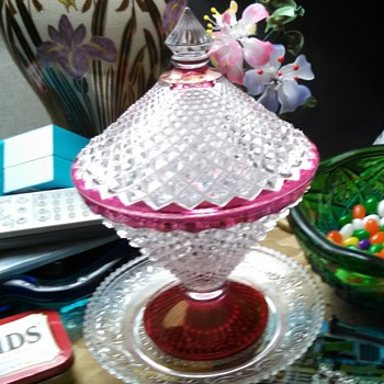English Hobnail Ruby Stained Candy Dish
