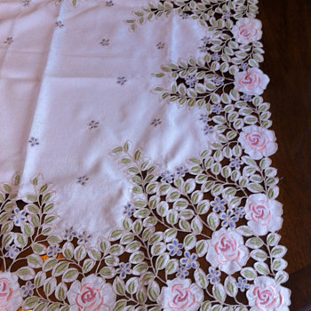 Gorgeous Vintage Dollies Tablecloth Ivory WithbPink Roses and Beautiful Green and Blue Leaves