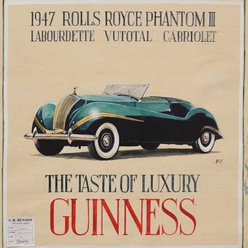 Guinness Advertising Study of a 1947 Rolls Royce Phantom III