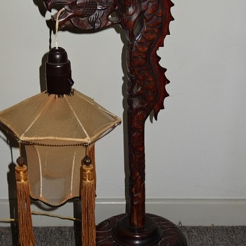 Rosewood (?) dragon lamp base