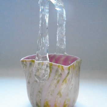 Welz Striped Basket - Art Glass