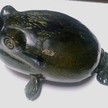Unusual Pottery Frog Vase or Bottle - Animals