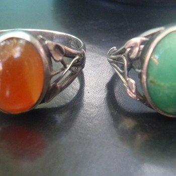 Arts & Crafts Carnelian & Turquoise Rings - Arts and Crafts