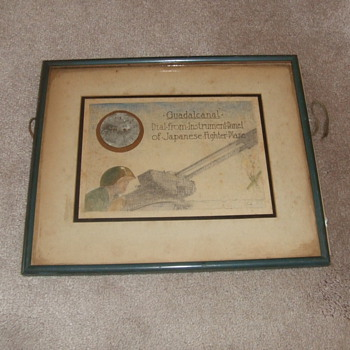 Trench art framed sketch with Japanese Aircraft part