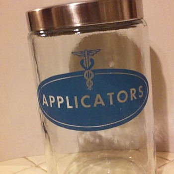"""old glass """"APPLICATORS"""" jar/lid from a doctor's office"""