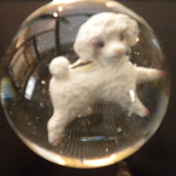 Handmade Sulfide with White Poodle Figurine - Art Glass