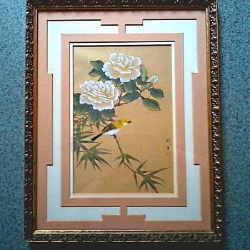 """Peonies and Gold Finch"" Chinese Gauche/Gong-Bi Style after Southern Song Paintings/Matted  & Framed 16""x20""/Circa 20th Century"