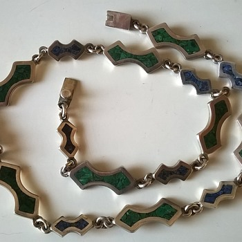 Taxco Inlaid Sterling Silver Necklace Flea Market Find 2,50 Euro ($2.69)