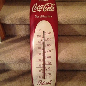 1950's Coca-Cola Thermometer - Cigar type - Coca-Cola