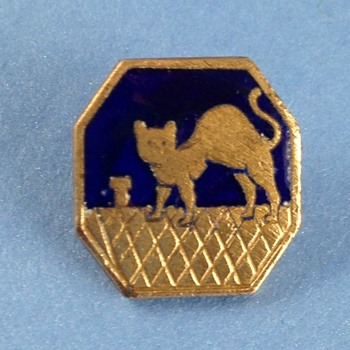 Brass Button Enamel Cat on Roof from France - Sewing