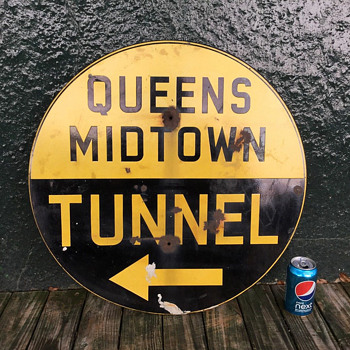 Rare porcelain Queens-Midtown Tunnel sign. Circa 1940.