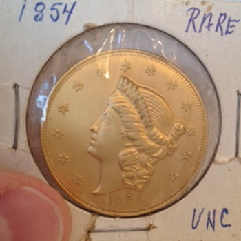 1854 Twenty Dollar Gold San Francisco Mint Coin - US Coins