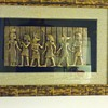 Metallic etched animal Head roman figures in shadowbox  framed under glass
