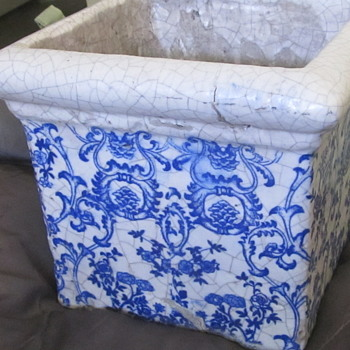 Old blue and white planter