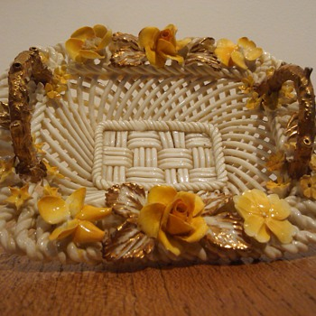 CROWN STAFFORDSHIRE WOVEN BASKET  - Art Pottery