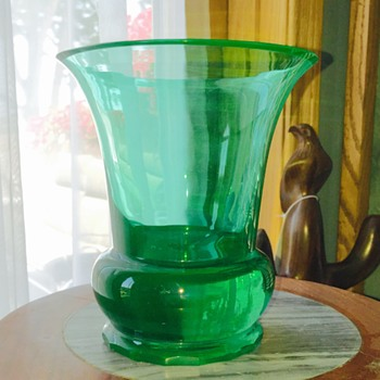 Vintage French? Uranium Opalescent Faceted Footed Crystal Vase  - Art Glass