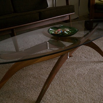 Mid Century Modern Teak base coffee table with adjustable legs and glass top - Mid Century Modern