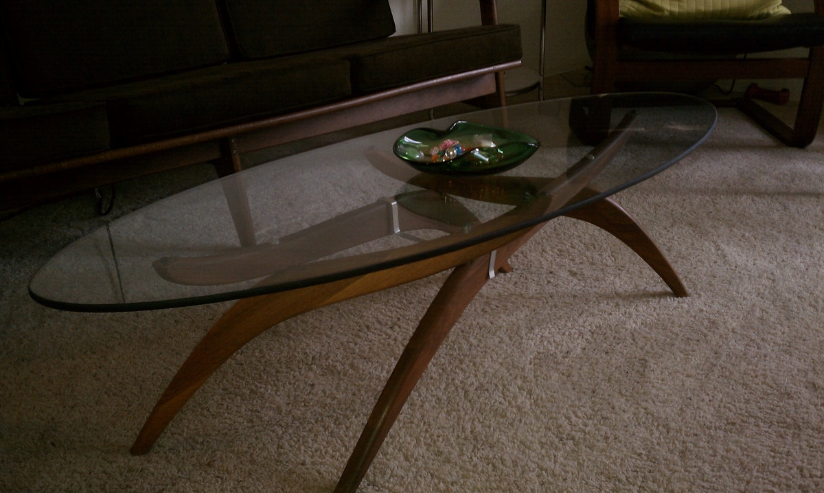 Mid Century Modern Teak Base Coffee Table With Adjustable Legs And Glass Top Collectors Weekly