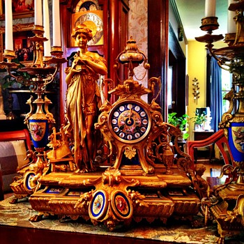 Antique French Figural Clock and Candelabra - Clocks