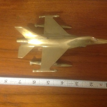 Vintage Solid Brass Jet Fighter
