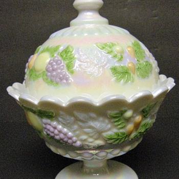Westmoreland Della Robbia footed, covered candy dish - Mother of Pearl - pastel fruit - Glassware