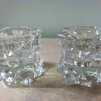 Glass candle holders - Art Glass