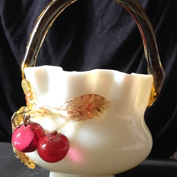 Stevens and Williams basket with cherries. - Art Glass