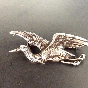 Victorian silver stork brooch