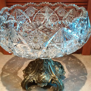Crystal Compôte Bowl with Brass Pedestal - Glassware