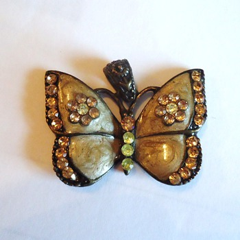 Brass Butterfly, enameled? With jewels!  Old!?  Maybe from Gospel Thrift Store  Cute!
